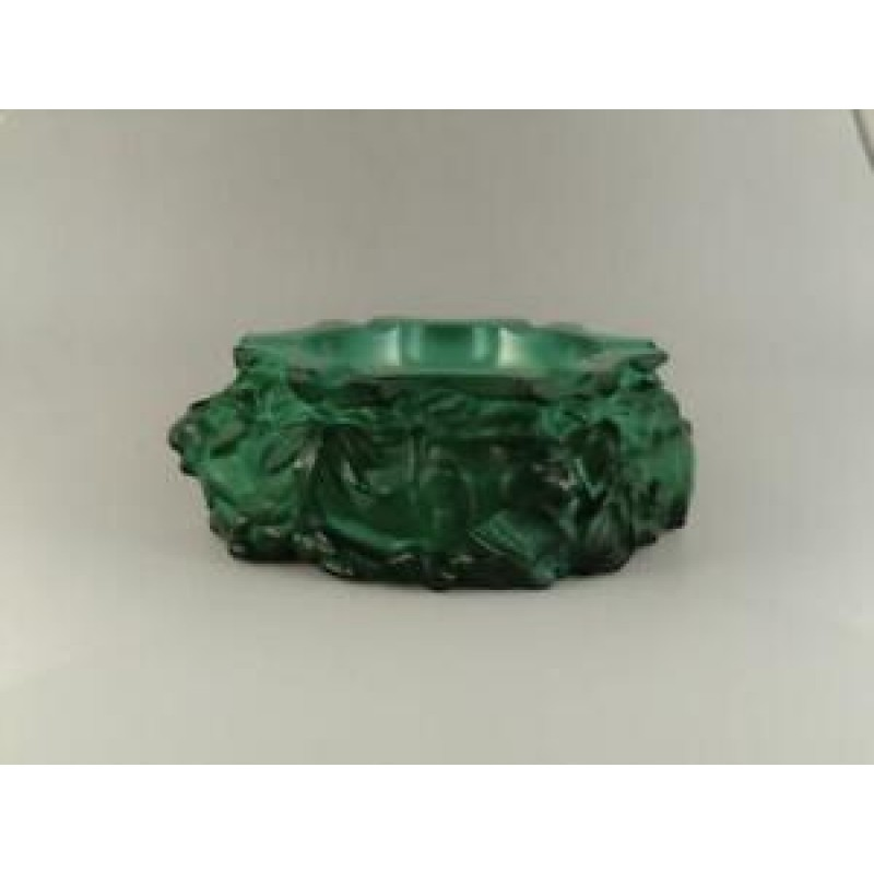 Art Deco Malachite Jade Art Glass Ashtray with Tigers Schlevogt Hoffmann Czech