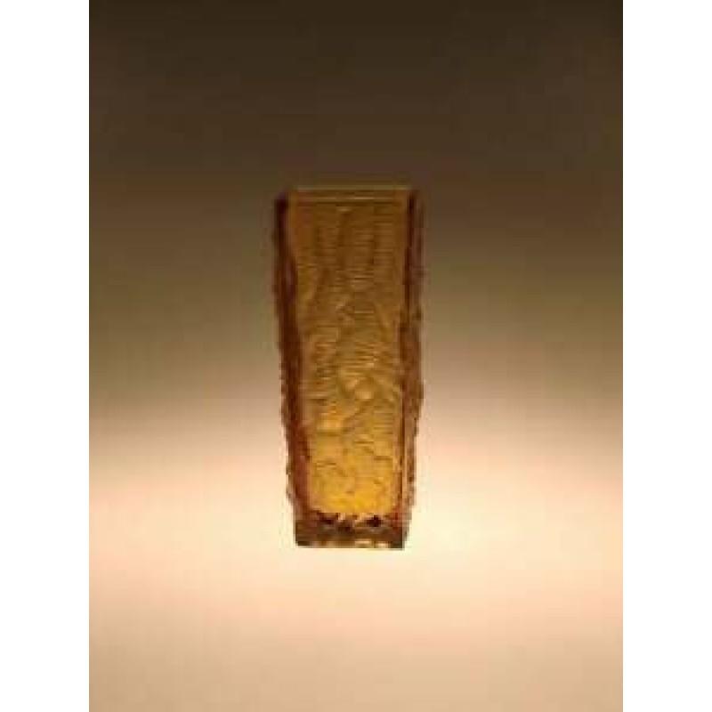 Art Glass Hand Pressed Amber Vase by Vladislav Urban Communist Czech 1960s Decor