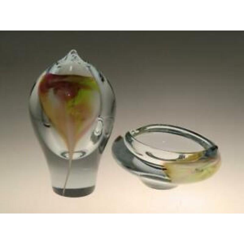 Czech Bohemian Crystalex Novy Bor Art Glass Vase and Bowl Ashtray Jiri Suhajek