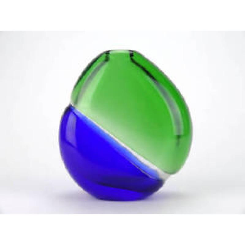 Decorative glass vase - 1970s retro blue green glass vase - Palecek - Skrdlovice