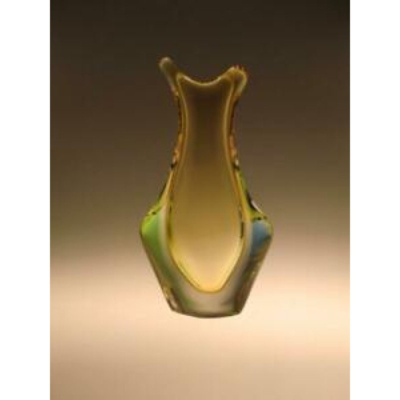 Sommerso Art Glass Vase by Frantisek Zemek for Moser Amber Green Blue Czech Sklo