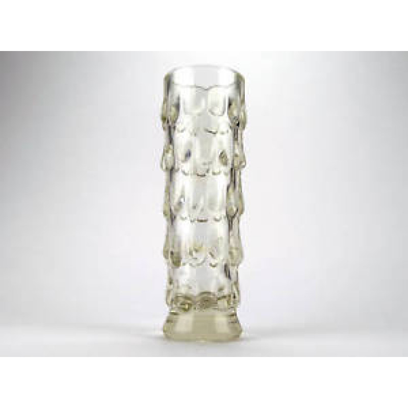Vintage Bohemian Pressed Glass Vase | Clear | MCM | Jiri Brabec | Sklo | Rosice